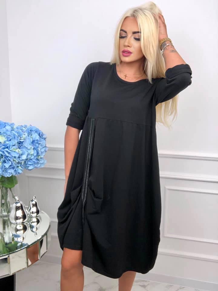 czarna sukienka damska do kolana z rekawem do lokcia