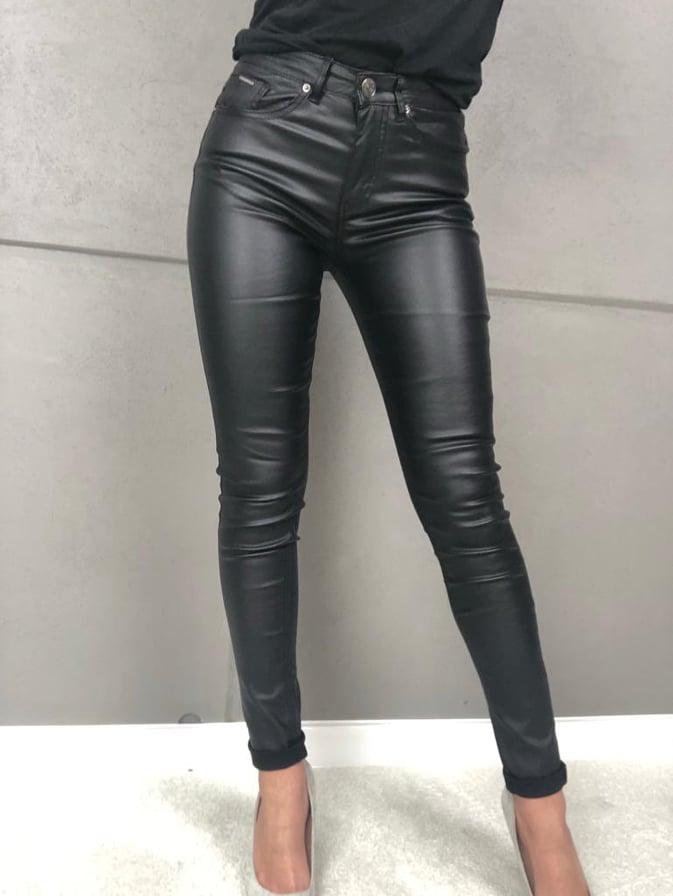 spodnie czarne woskowane z wyzszym stanem