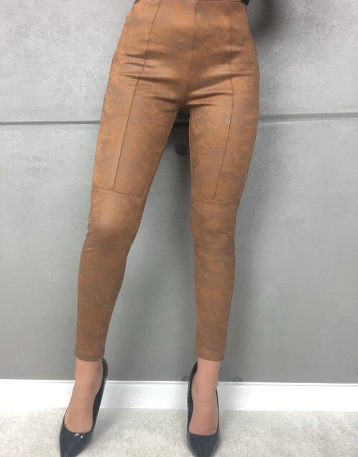spodnie materiałowe zamszowe w kolorze marmurkowego brązu 1