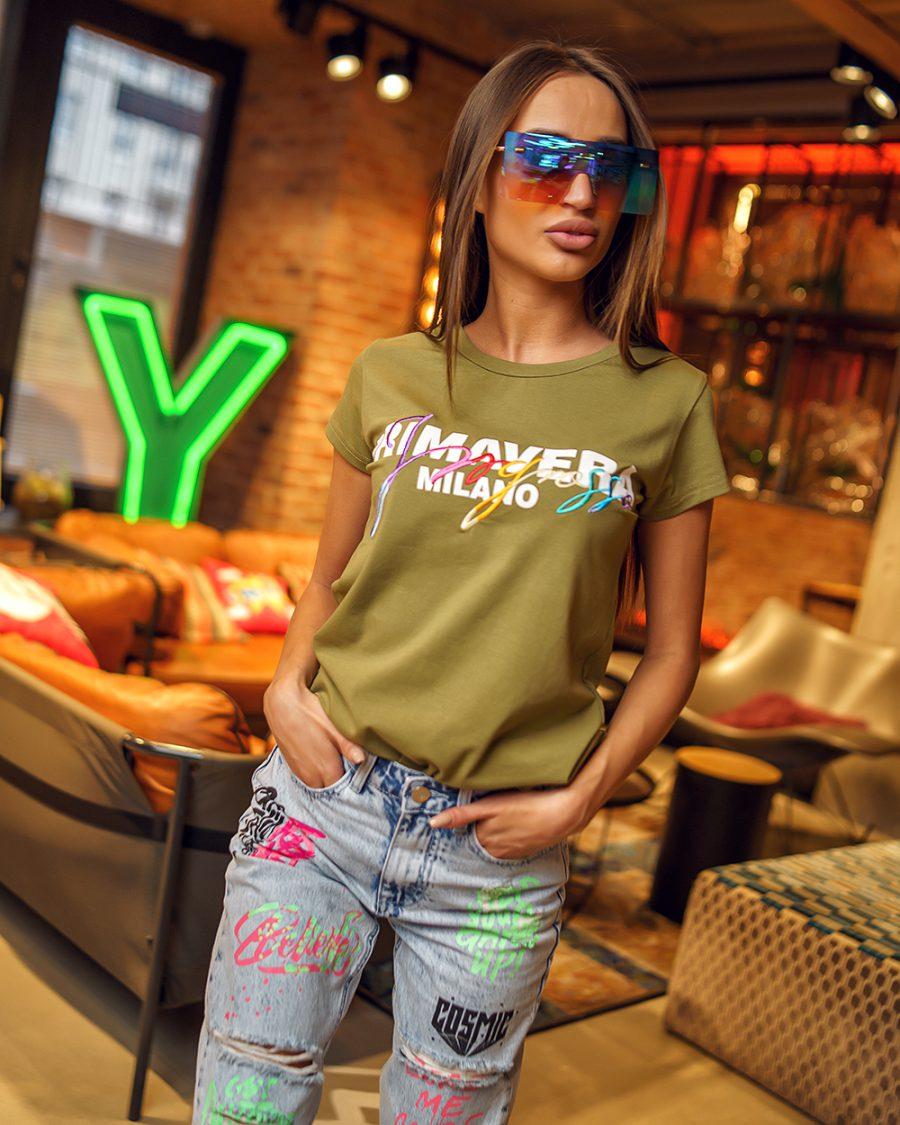 khaki damska koszulka z napisem na piersiach primavera (1)