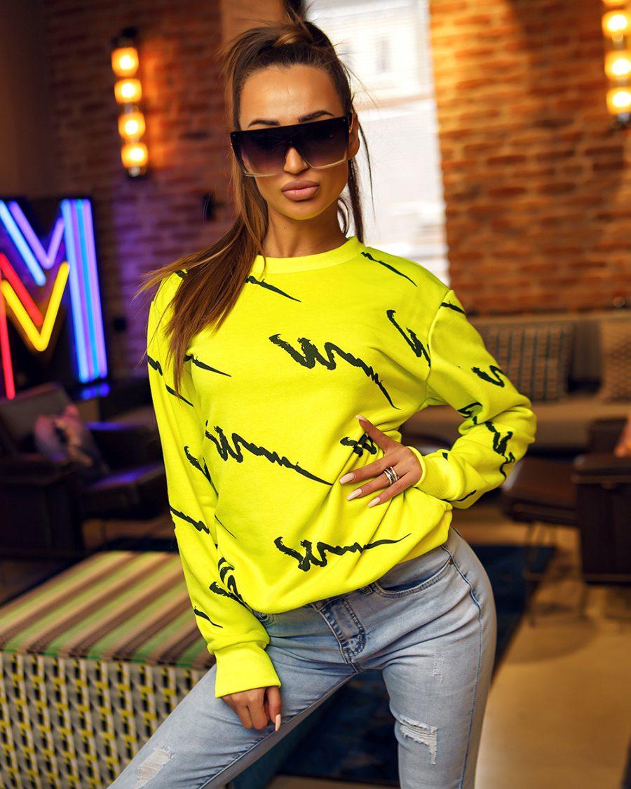 limonkowa bluza dresowa damska we wzorki bez kaptura (1)