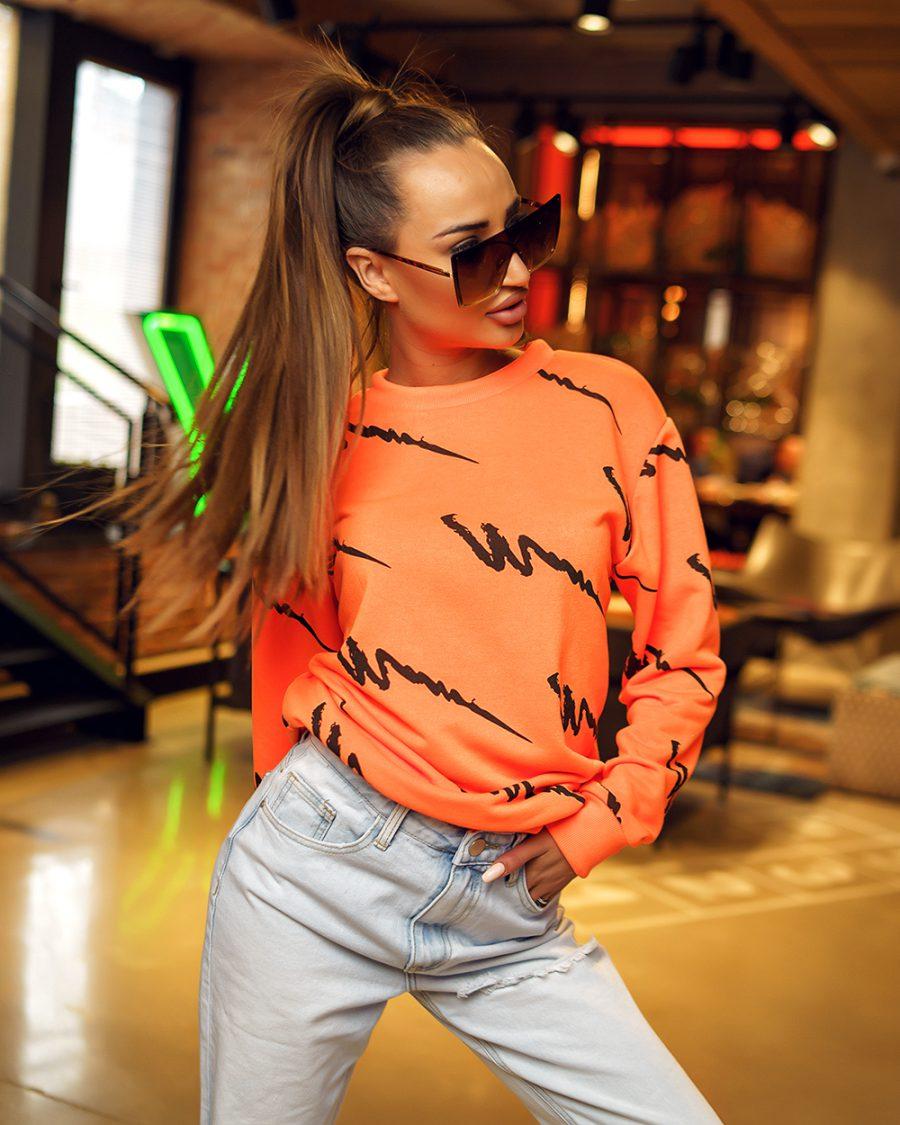 pomaranczowa bluza dresowa damska we wzorki bez kaptura (1)