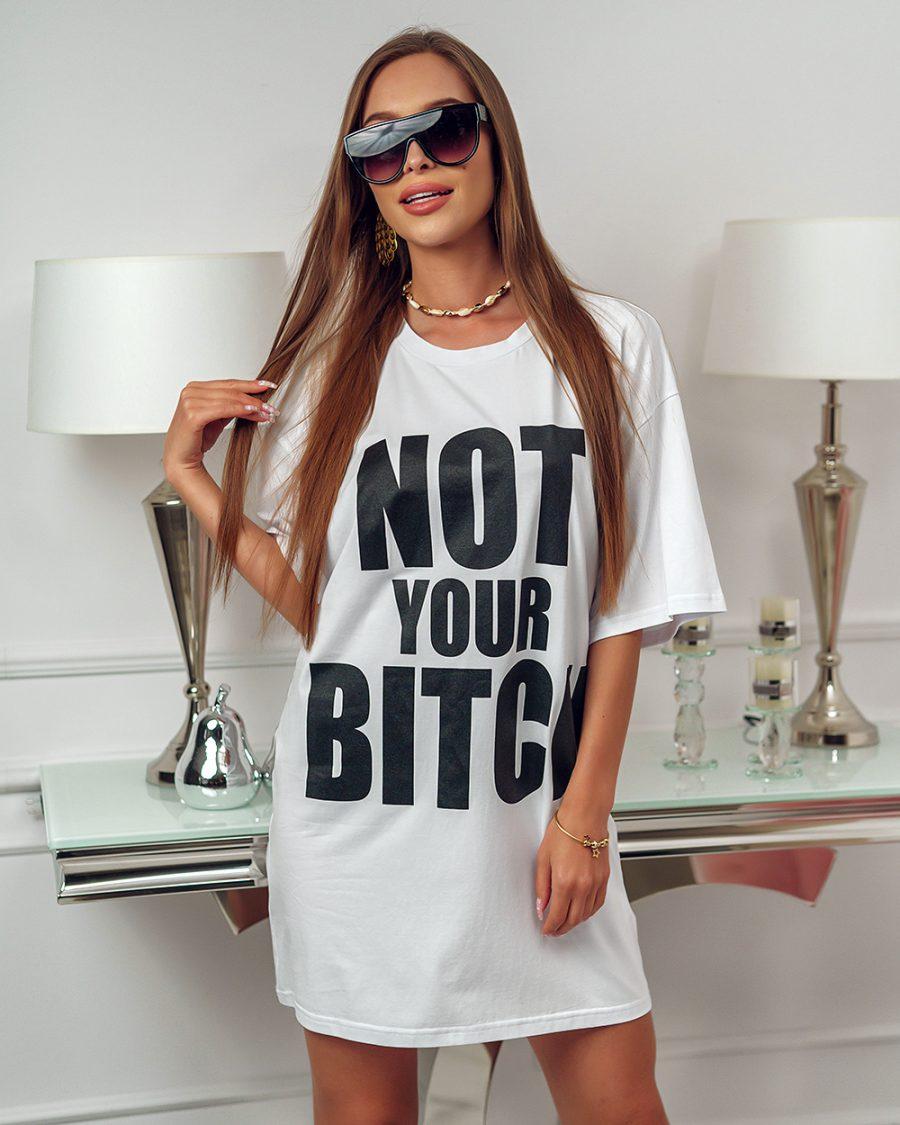 biala tunika sukienka z napisem not your bitch (1)