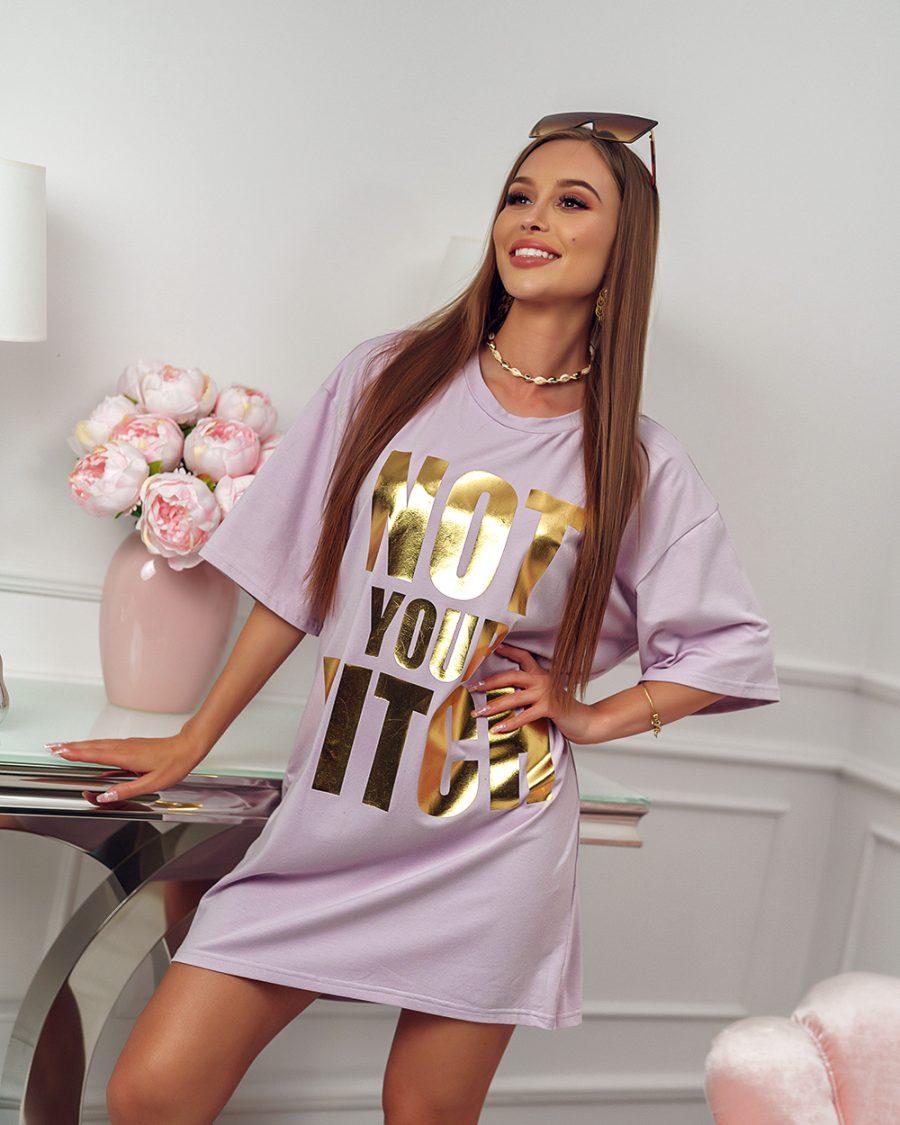 wrzosowa tunika sukienka z napisem not your bitch (1)
