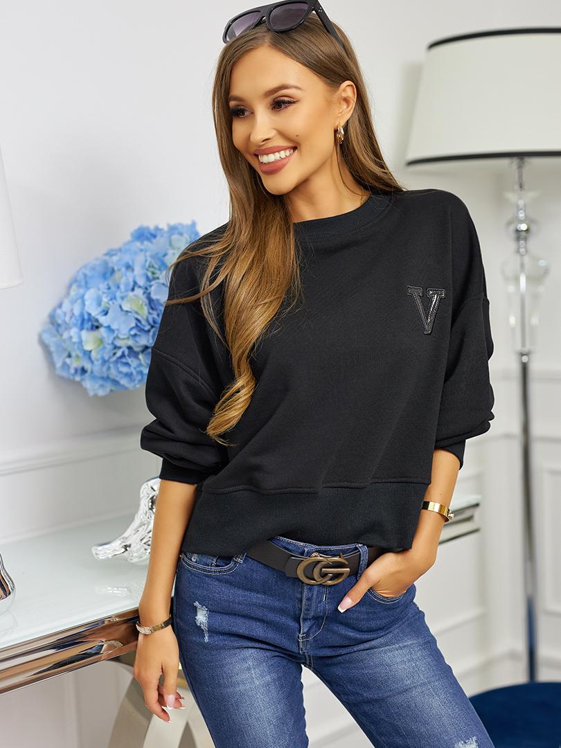bluza bez kaptura z V czarna