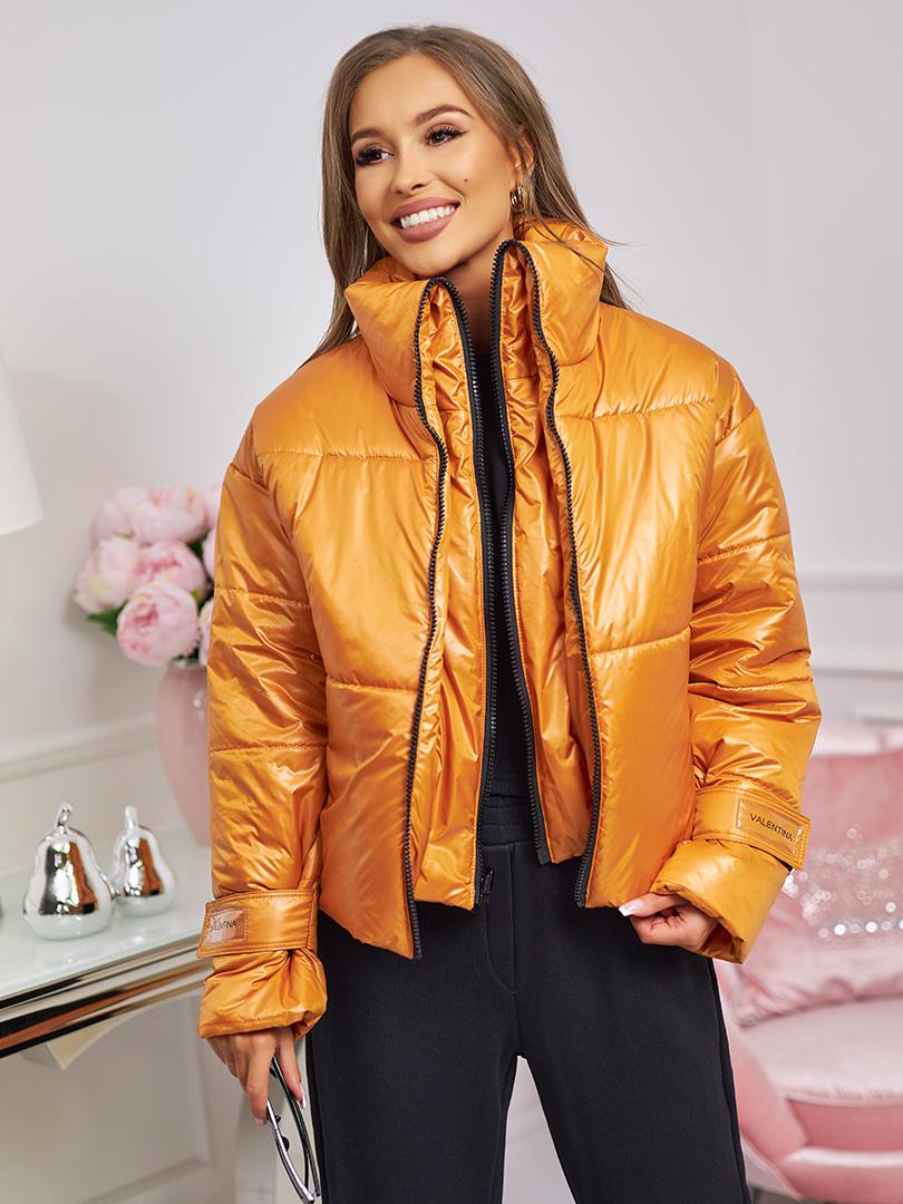 kurtka z podwójnym suwakiem pomaranczowa