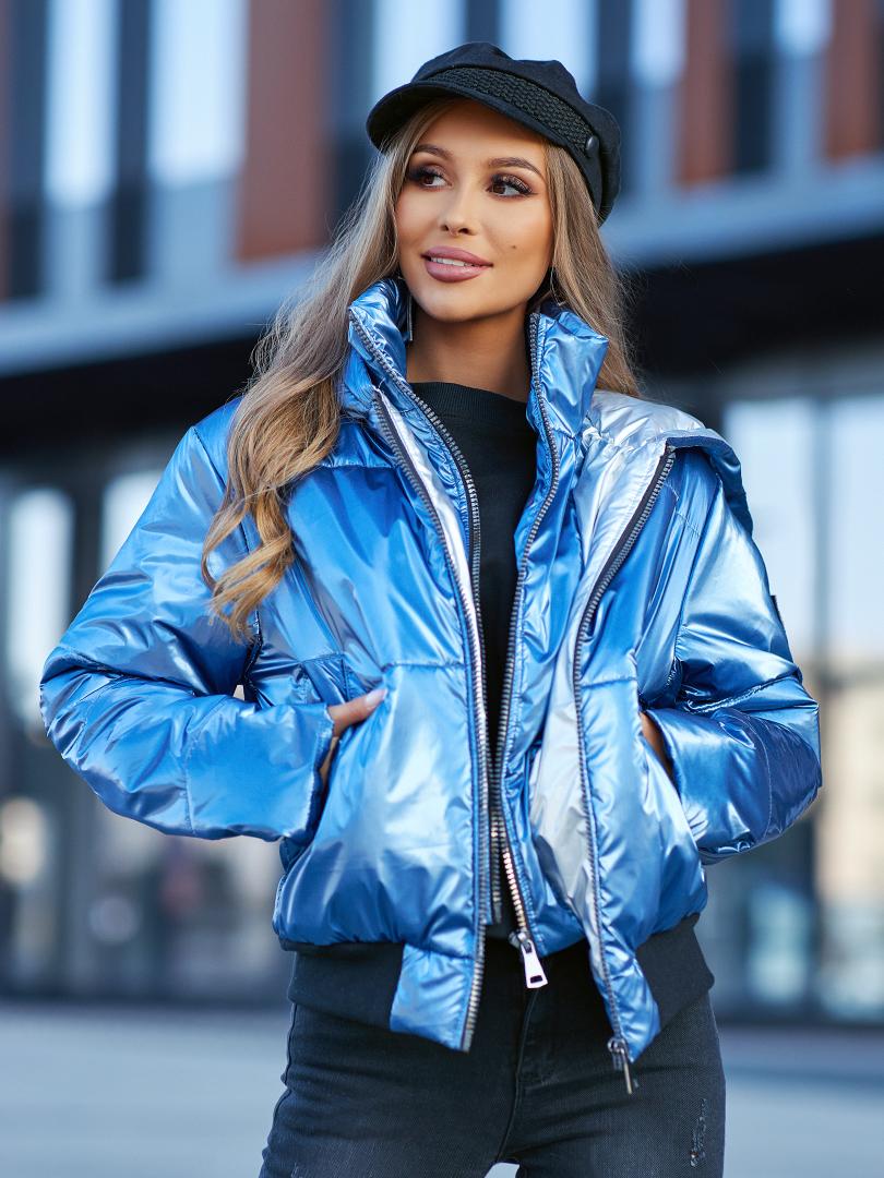kurtka z podwojnym zamkiem metaliczna niebieska