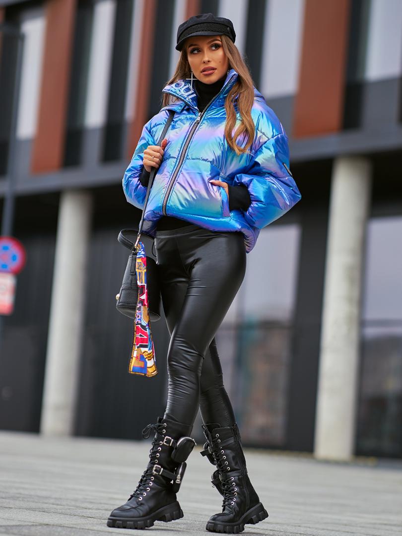 ciepla damska kurtka zimowa z haftem po wewnetrznej stronie mabic blue