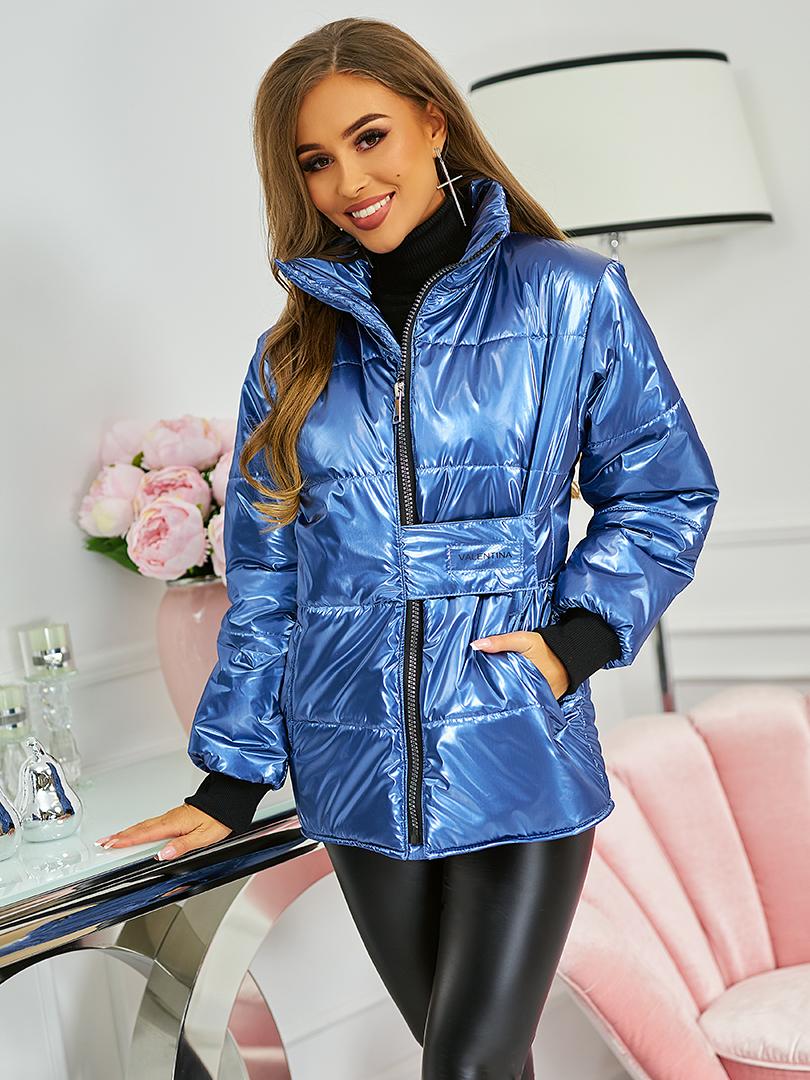 kurtka z napą w pasie niebieska metaliczna