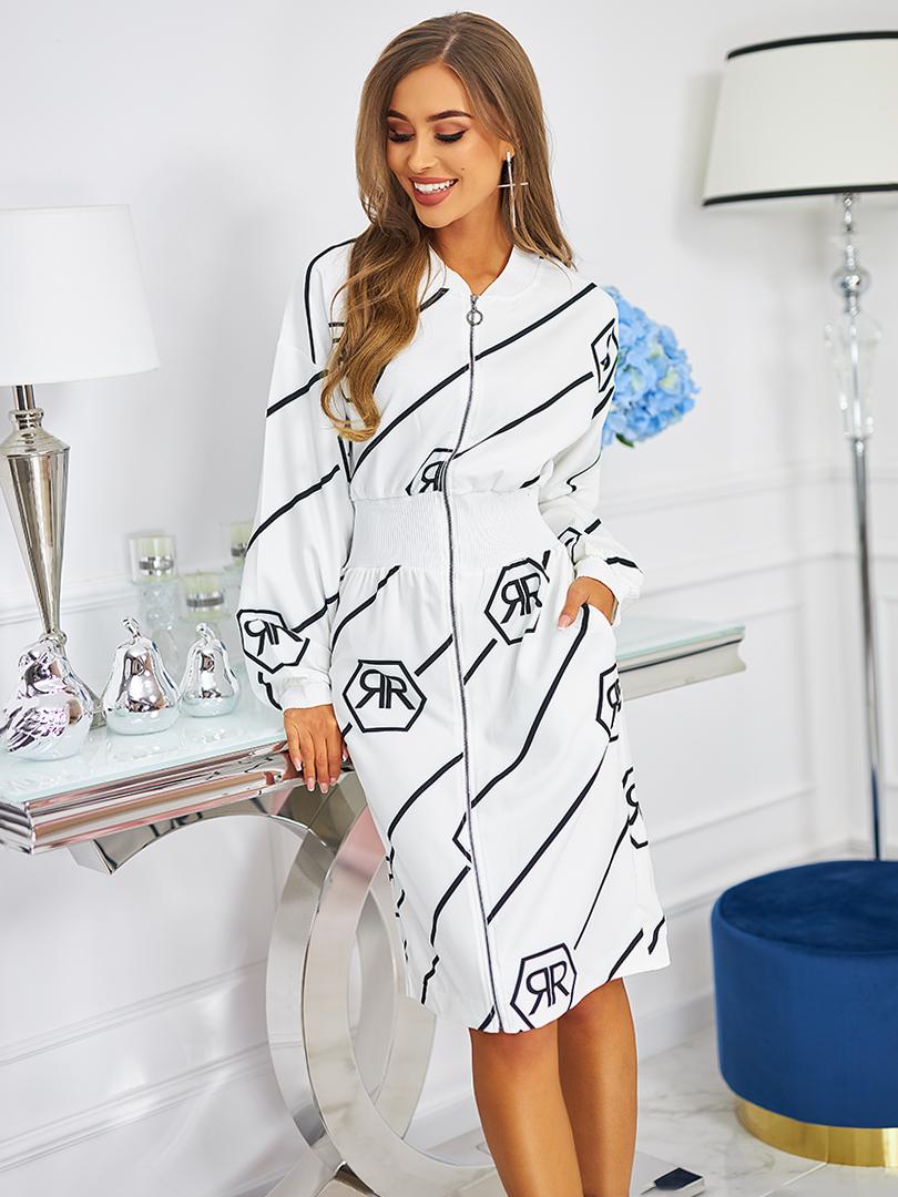 sukienka z zamkiem biala