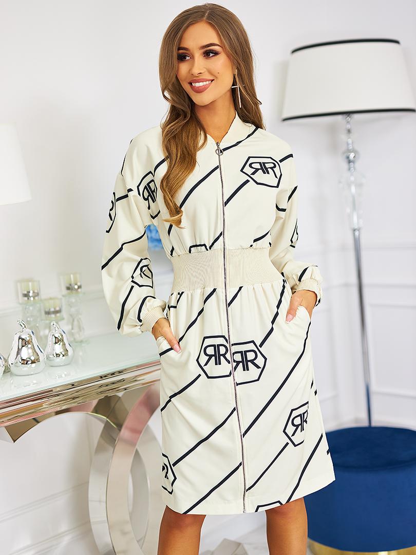 sukienka z zamkiem kremowa