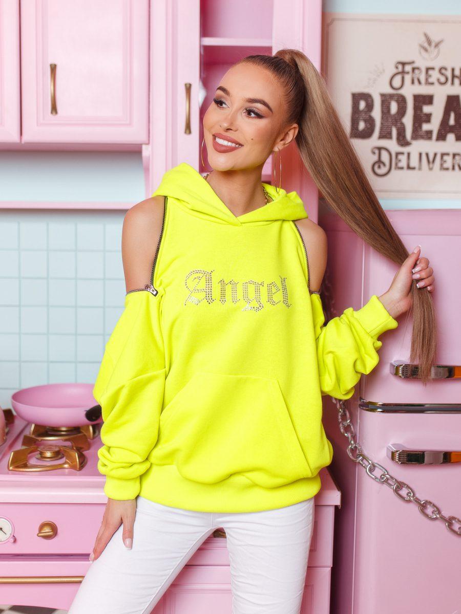amska bluza z zamkami z cyrkoniami napis angel limonka (1)