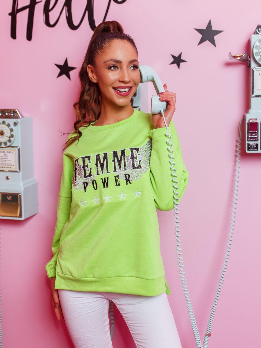 bluza damska asymetryczna famme jasna zielona (1)