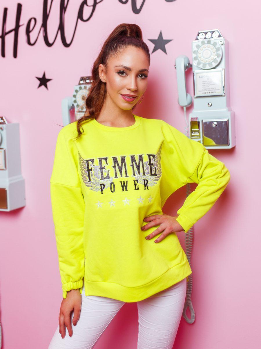 bluza damska asymetryczna famme limonka (1)