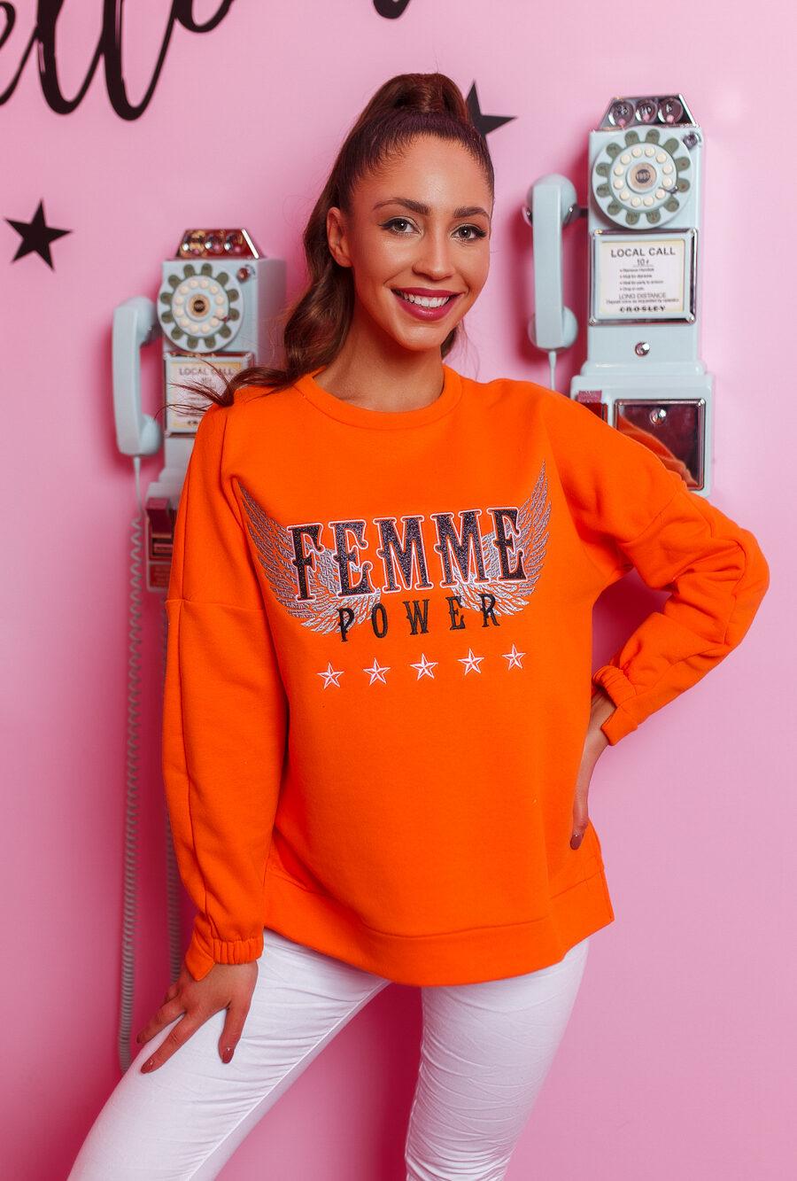 bluza damska asymetryczna famme pomarancz (1)