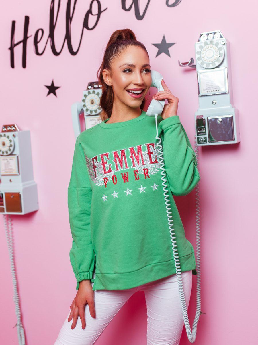 bluza damska asymetryczna famme zielona (1)