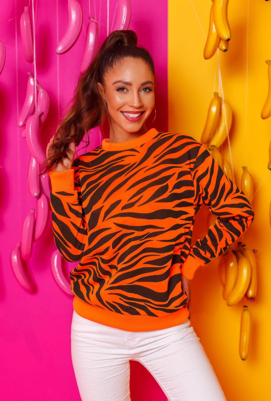 bluza damska tygrys zebra bez kaptura pomaranczowa (2)