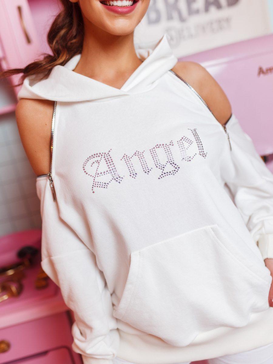 damska bluza z zamkami z cyrkoniami napis angel ecru (1)