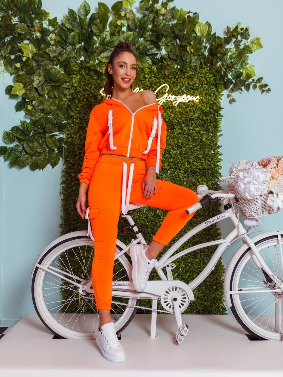 dres komplet bluza z zamkiem i kapturem spodnie klamerki tasmy neon pomarancz (1)