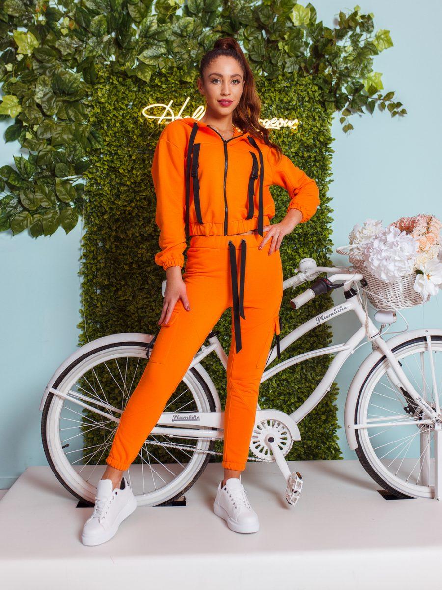 dres komplet bluza z zamkiem i kapturem spodnie klamerki tasmy pomarancz (1)