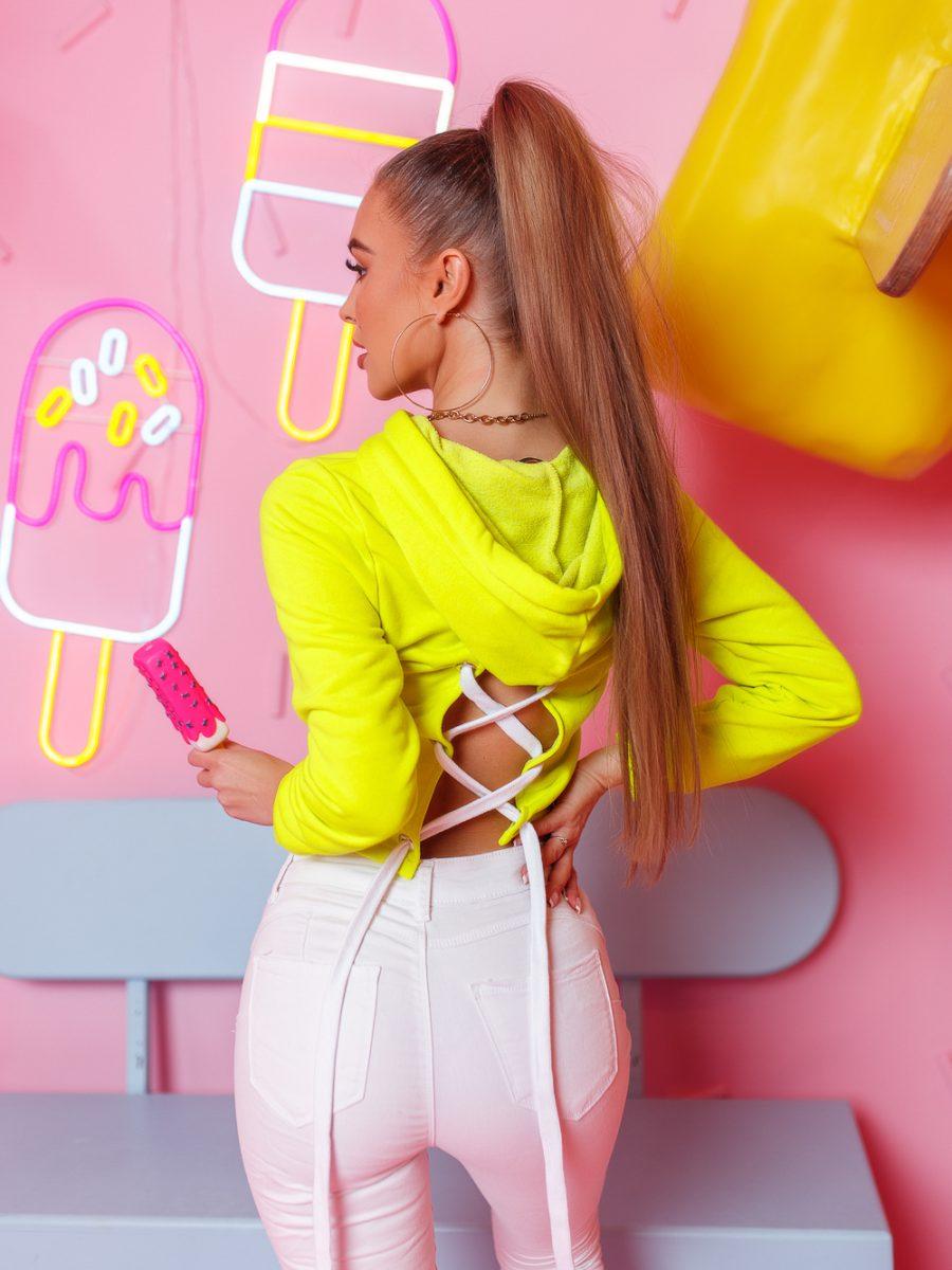 krotka bluza damska z cyrkoniami wiazana z tylu limonka (1)