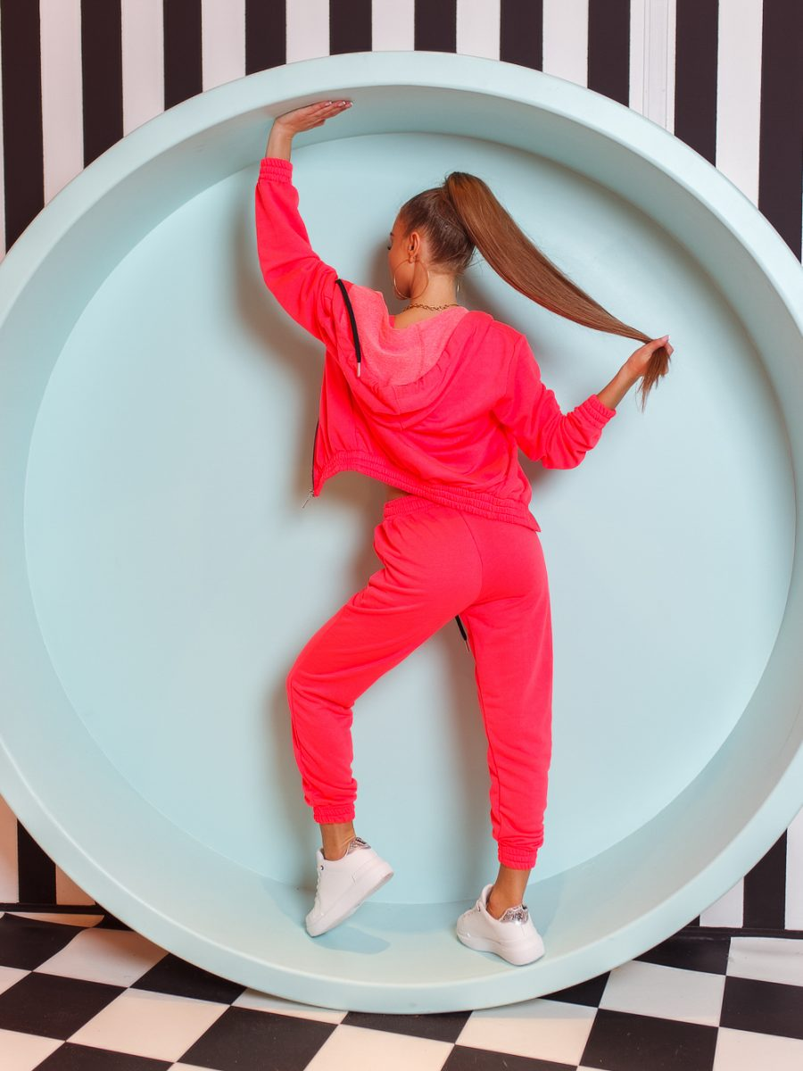 trzy czesciowy komplet dresowy spodnie bluza top damski bawelniany neon roz