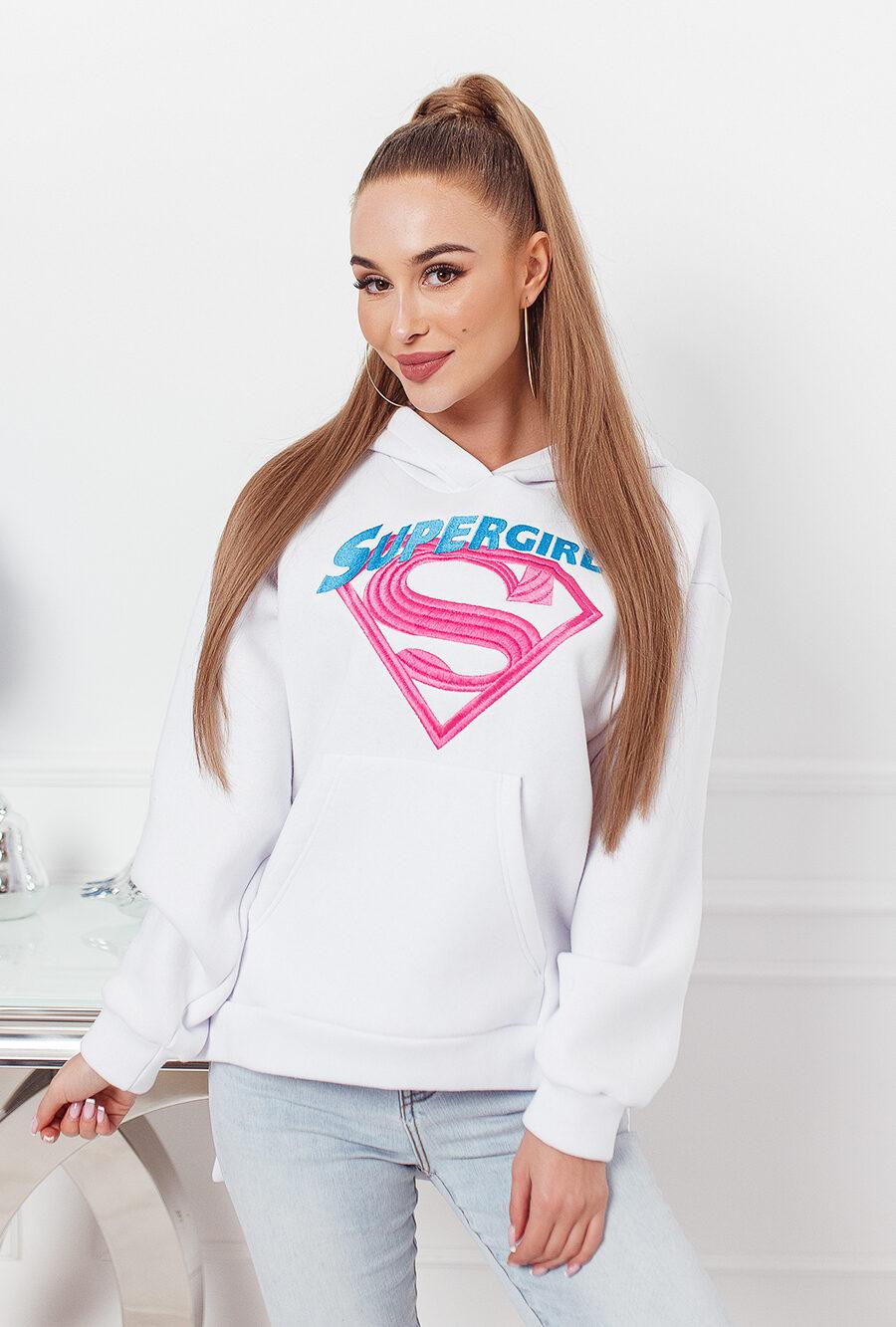 asymetyryczna bluza kangurka z kapturem damska super girl haft tyl dluzszy biala (1)