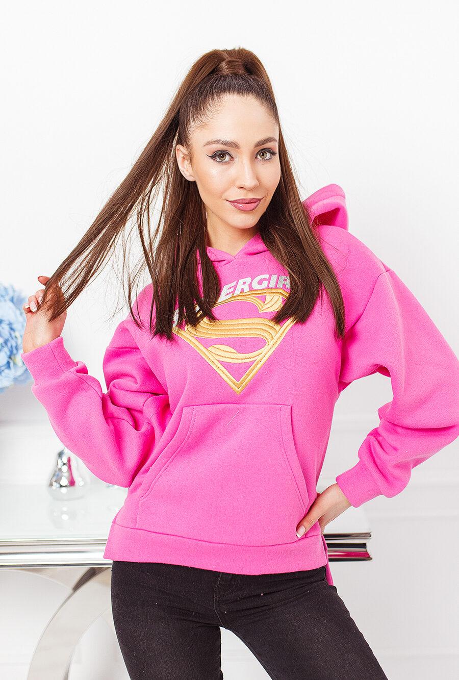 asymetyryczna bluza kangurka z kapturem damska super girl haft tyl dluzszy roz (1)