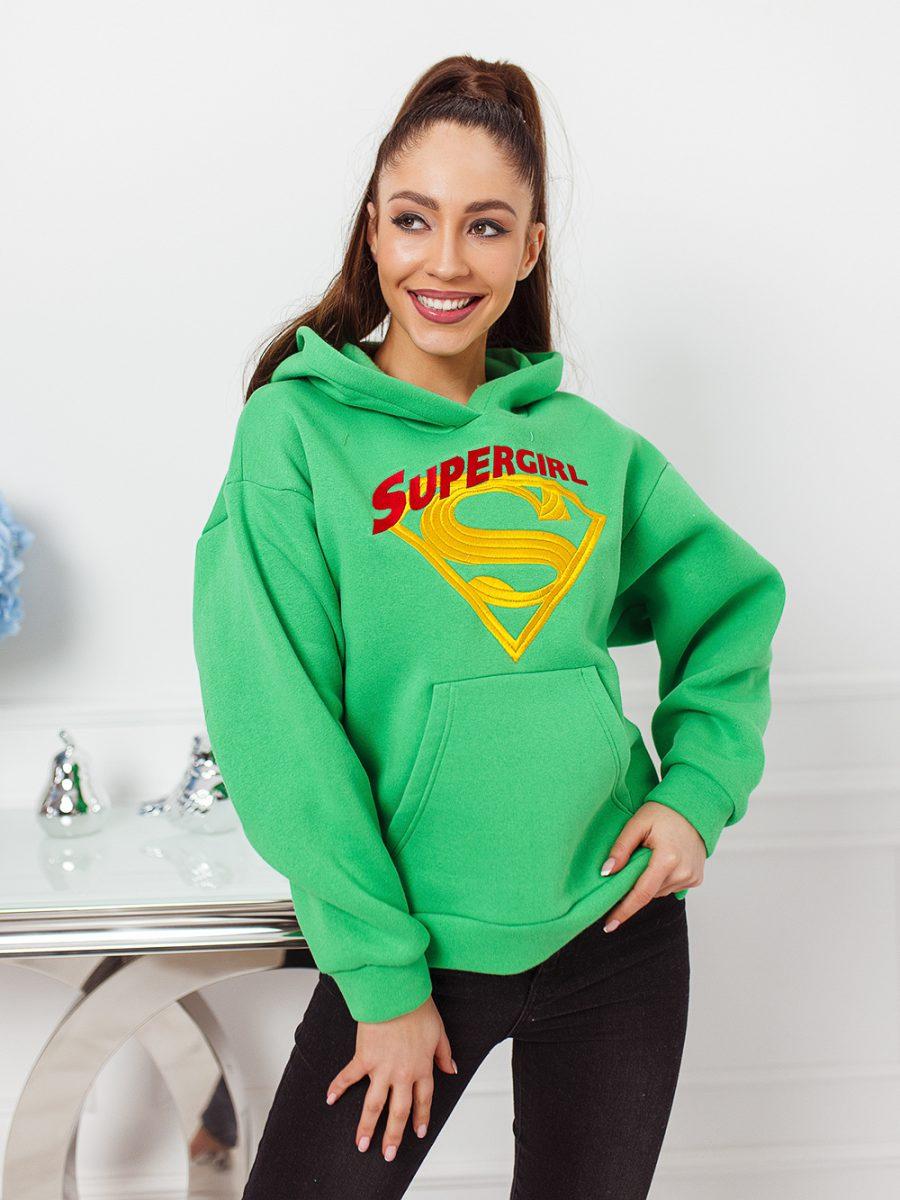 asymetyryczna bluza kangurka z kapturem damska super girl haft tyl dluzszy zielona (1)