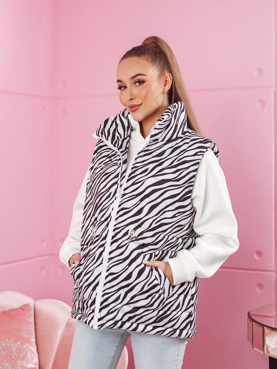 bezrekawnik damski w paski zebra bialy (1)