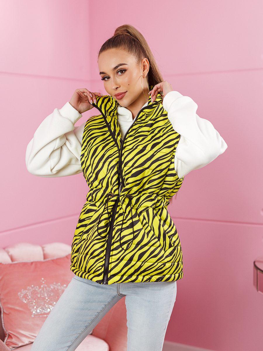 bezrekawnik damski w paski zebra limonka (3)