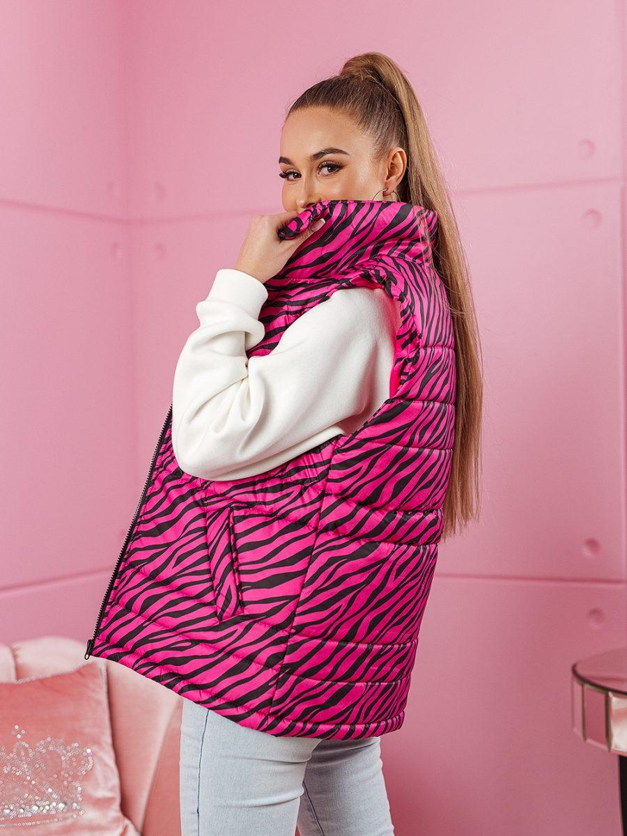 bezrekawnik damski w paski zebra roz (1)