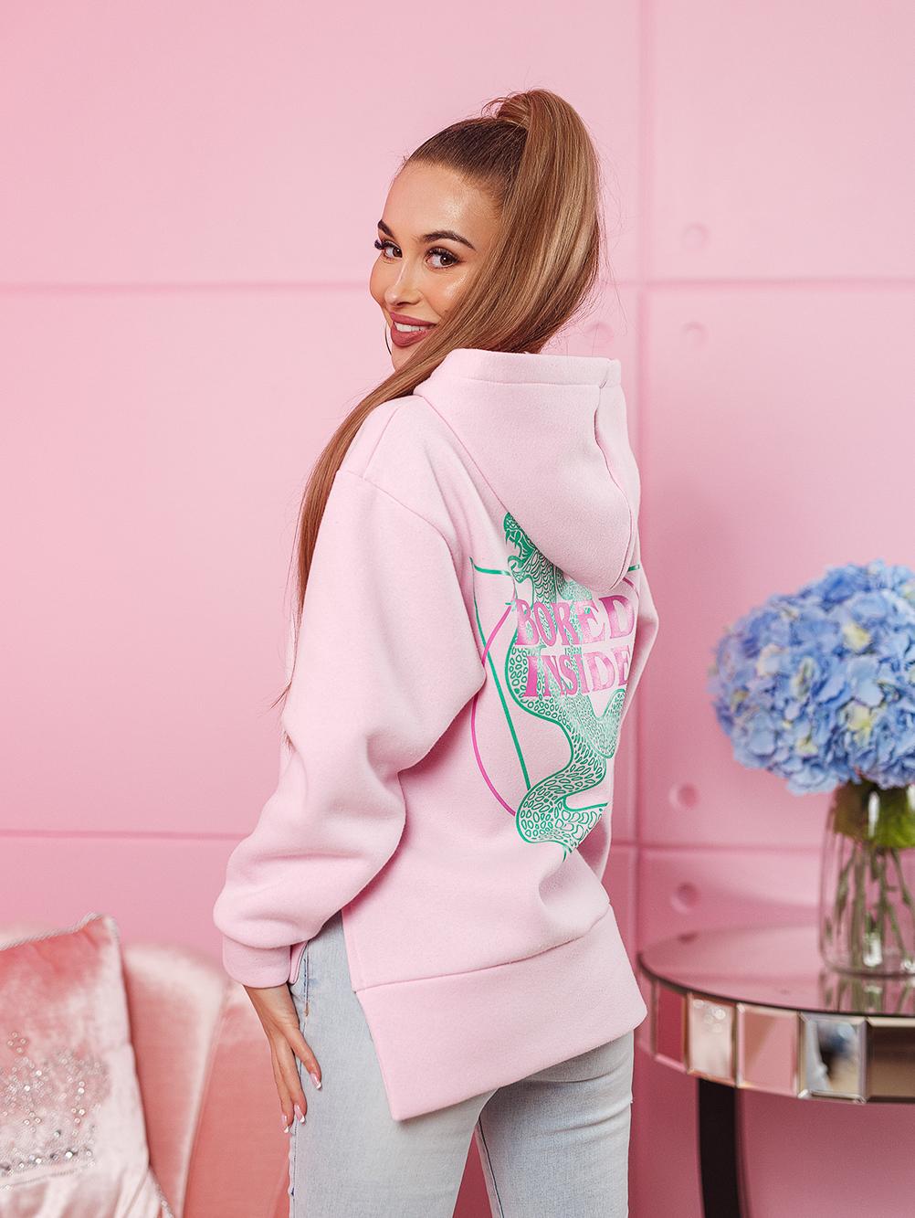 bluza damska bawelniana z zamkami po bokach nadruk na plecach i na piersi jasny roz (1)