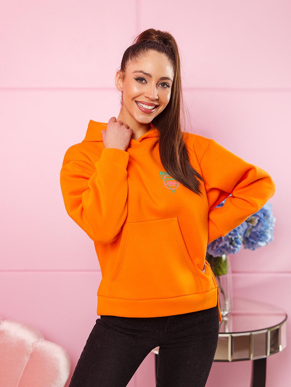 bluza damska bawelniana z zamkami po bokach nadruk na plecach i na piersi pomarancz (2)