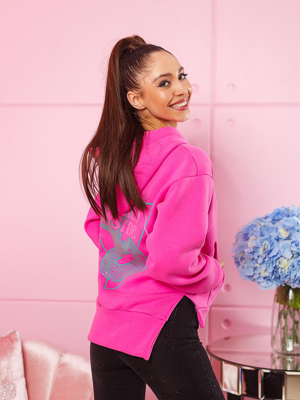 bluza damska bawelniana z zamkami po bokach nadruk na plecach i na piersi roz (3)
