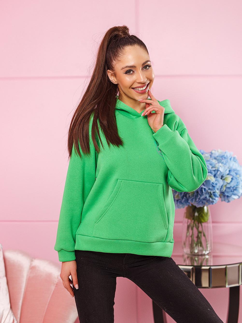 bluza damska bawelniana z zamkami po bokach nadruk na plecach i na piersi zielona (3)