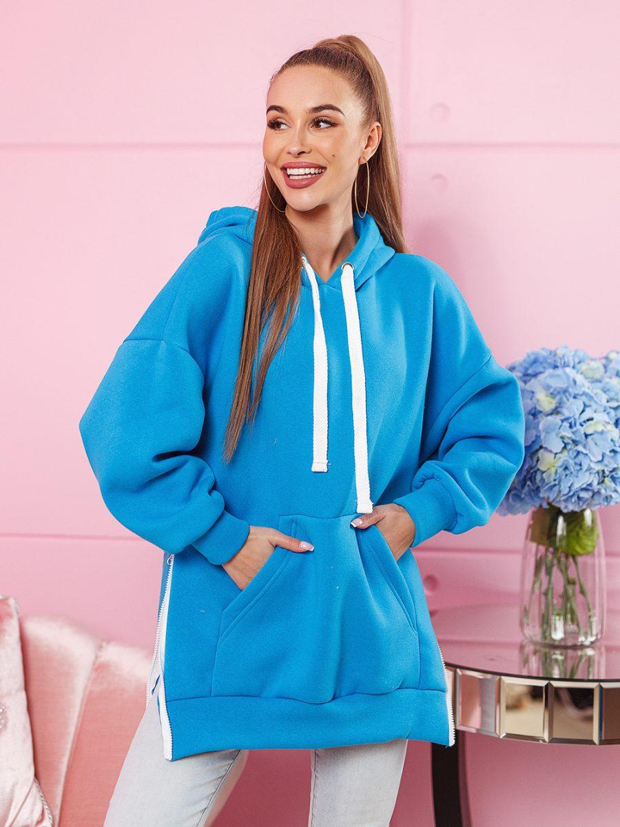 bluza kangurka damska z duzym nadrukiem na plecach z napisem cant stop me z kapturem rozpinana po bokach niebieska (1)
