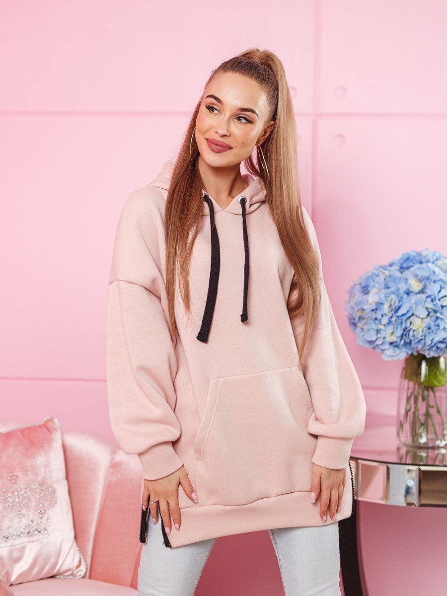 bluza kangurka damska z duzym nadrukiem na plecach z napisem cant stop me z kapturem rozpinana po bokach puder roz (1)