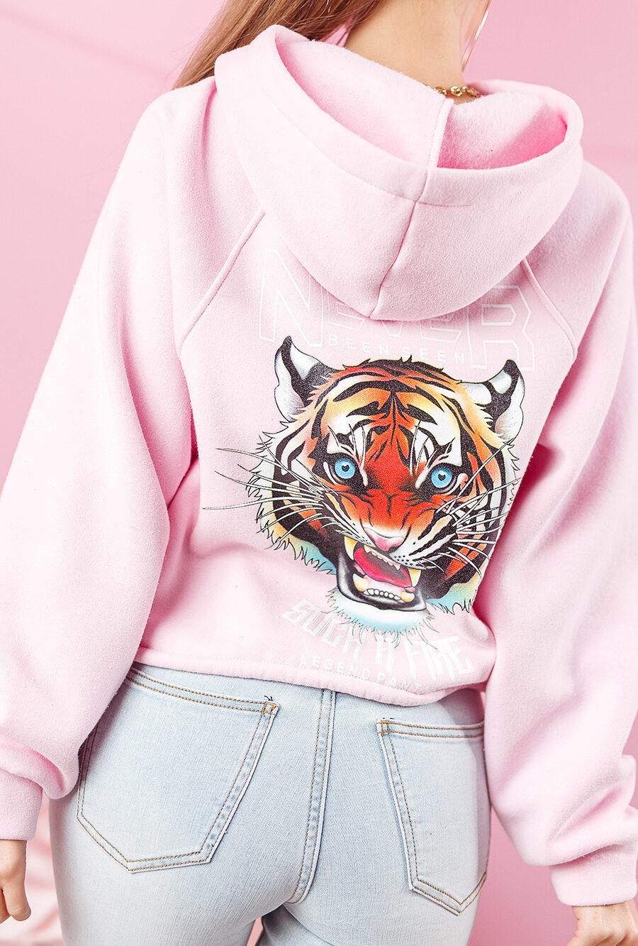 bluza z kapturem damska wiazana w pasie z tygrysem na plecach jasny roz (1)