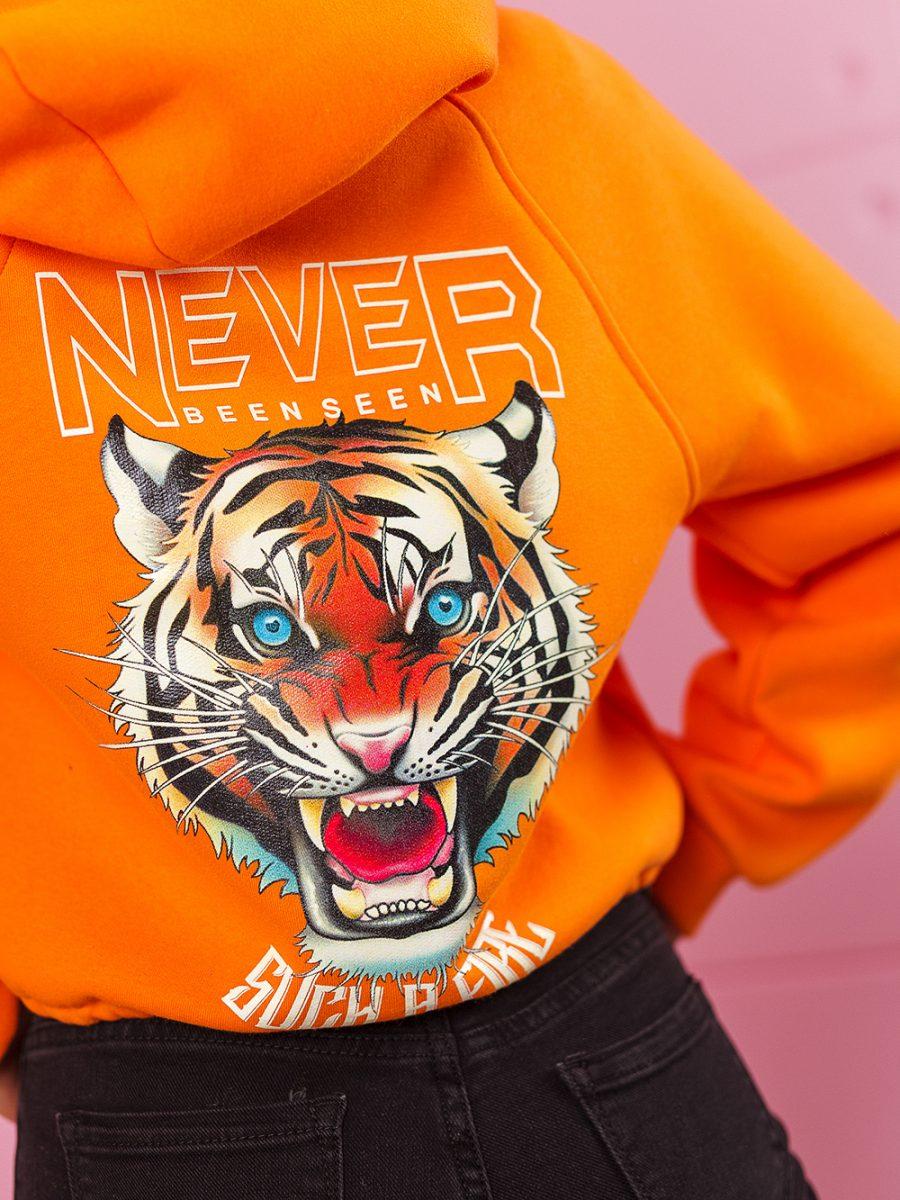 bluza z kapturem damska wiazana w pasie z tygrysem na plecach pomaranczowa (1)