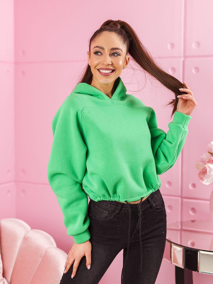 bluza z kapturem damska wiazana w pasie z tygrysem na plecach zielona (1)