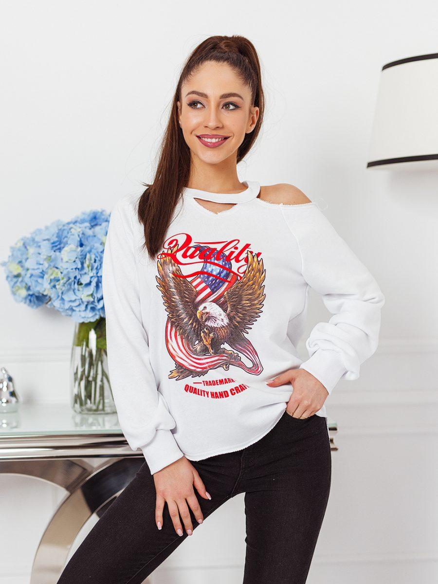 bluza z nadrukowanym orlem na przodzie odkryte ramie biala (1)