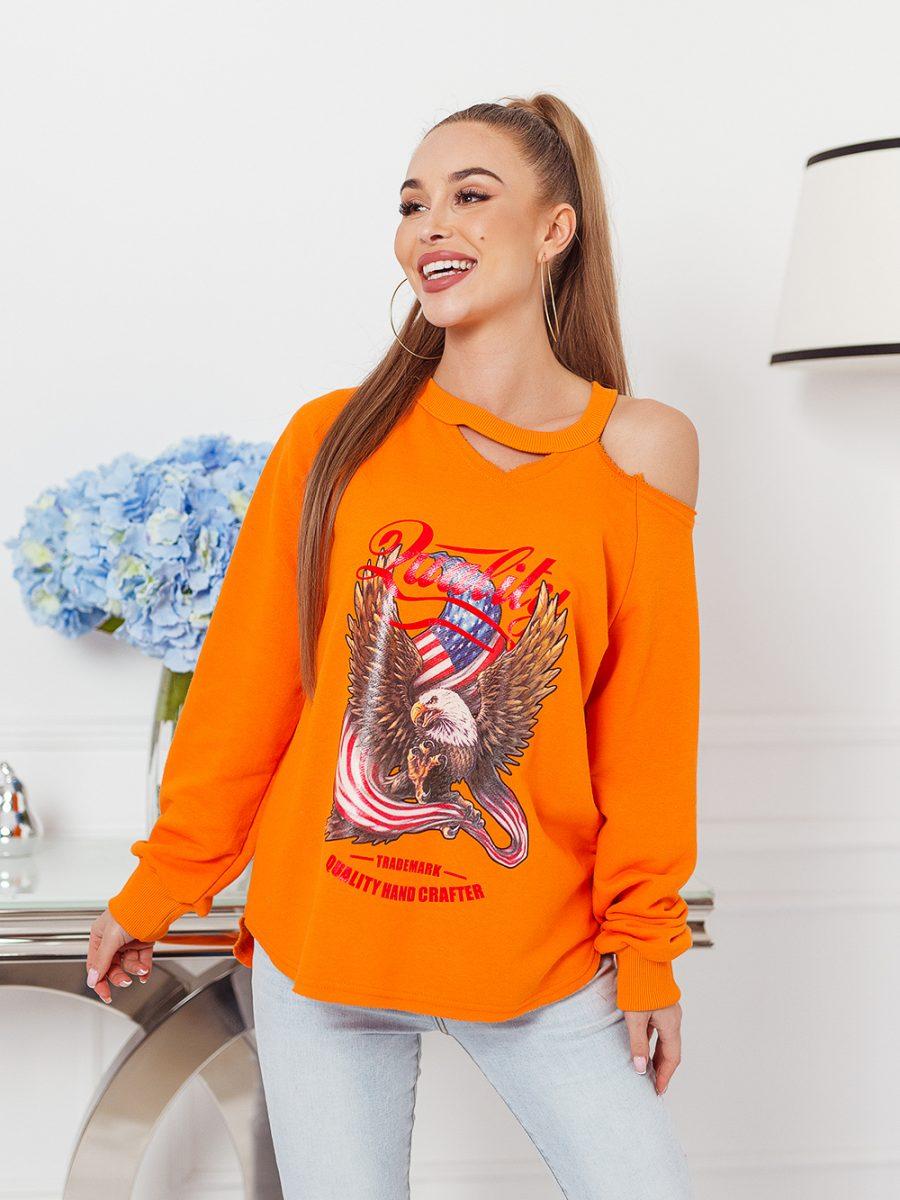 bluza z nadrukowanym orlem na przodzie odkryte ramie pomaranczowa (1)
