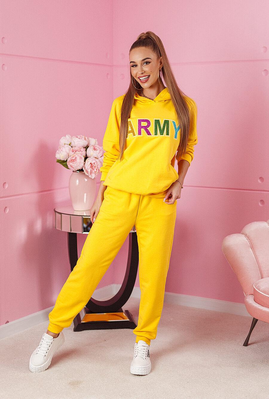 dres army z brokatowym nadrukiem z pistaoletami spodnie bluza zolty (1)