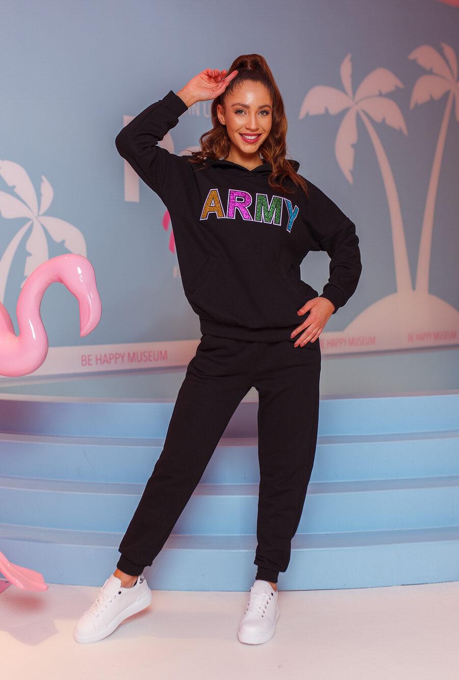 dres damski komplet spodnie bluza army czarny (1)