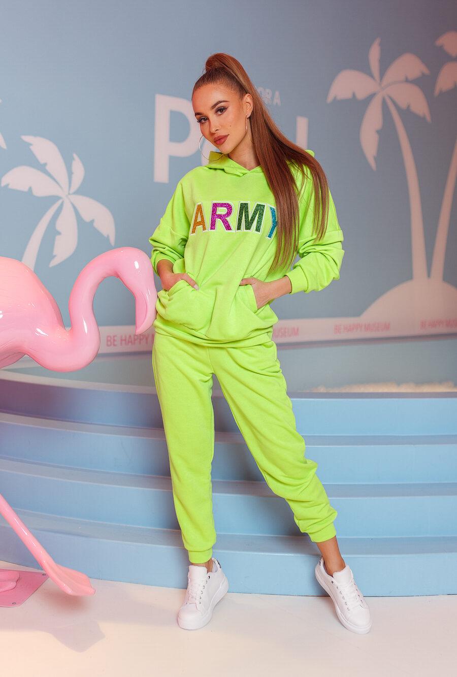 dres damski komplet spodnie bluza army jasny zielony (1)