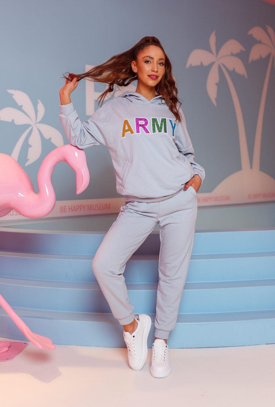dres damski komplet spodnie bluza army szary (3)