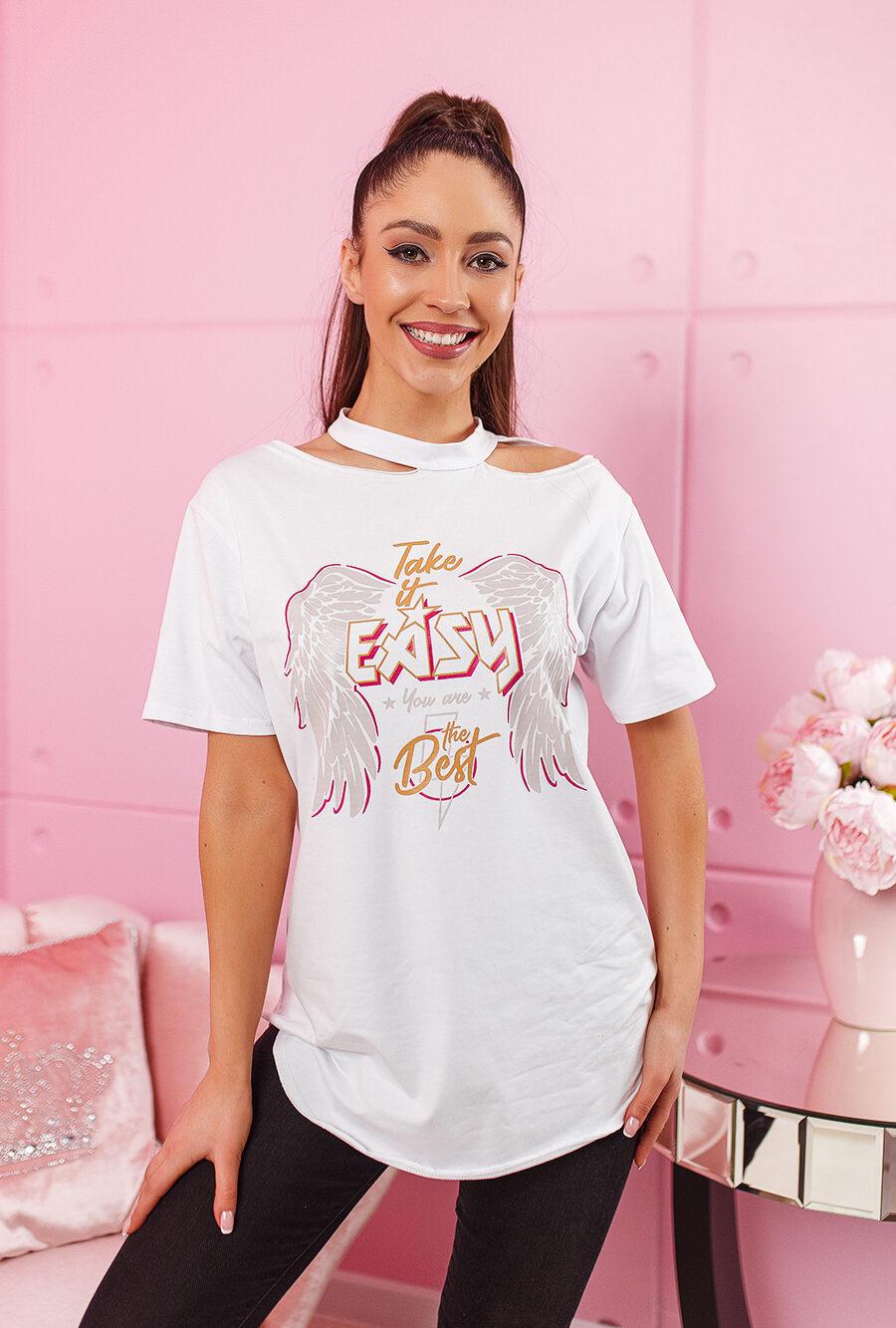 t shirt easy z nasrukiem ze skrzydlami dluzyszy kroj tunika damska na dekolcie rozciecia biala (1)