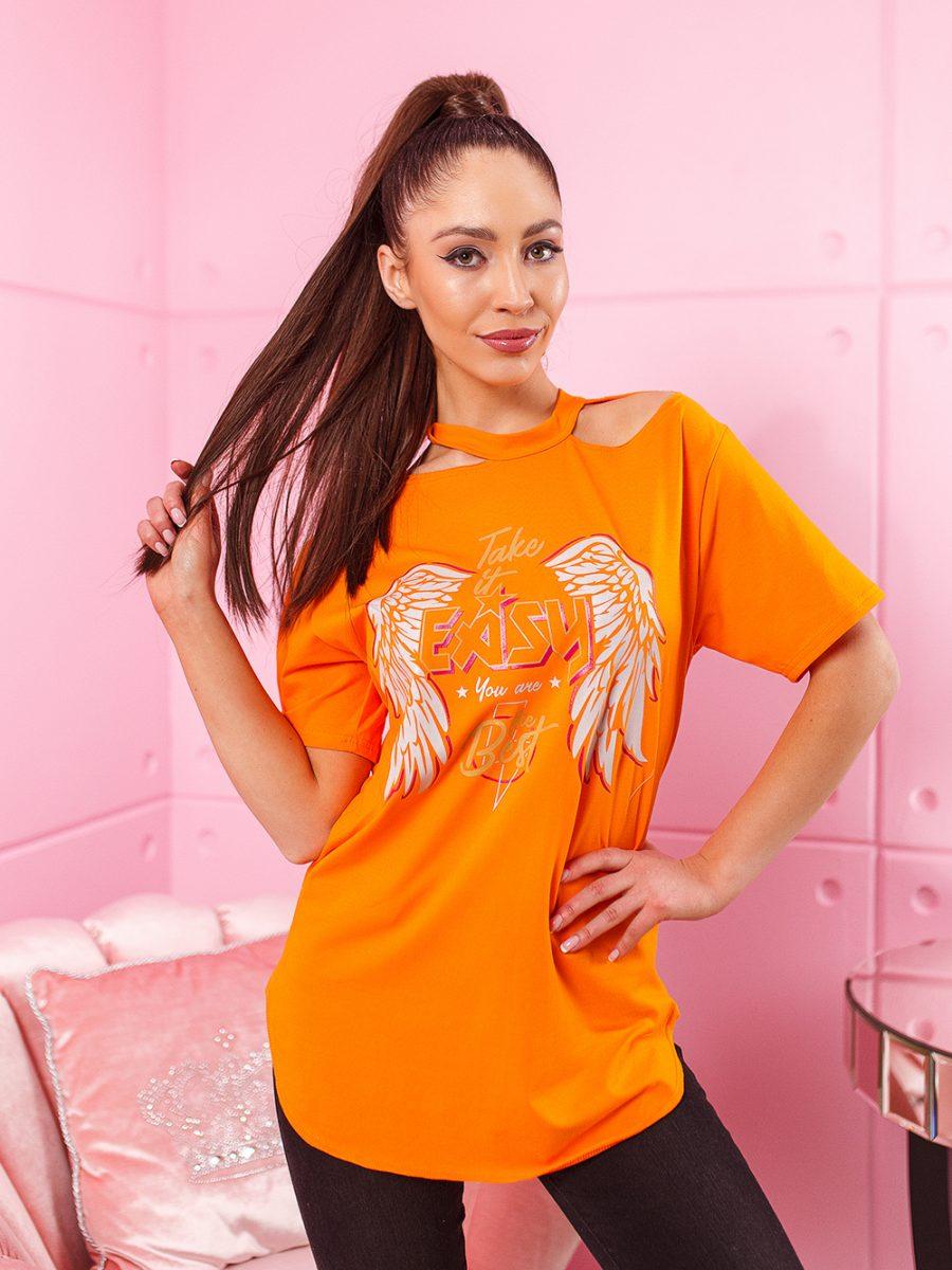 t shirt easy z nasrukiem ze skrzydlami dluzyszy kroj tunika damska na dekolcie rozciecia pomarancz (1)