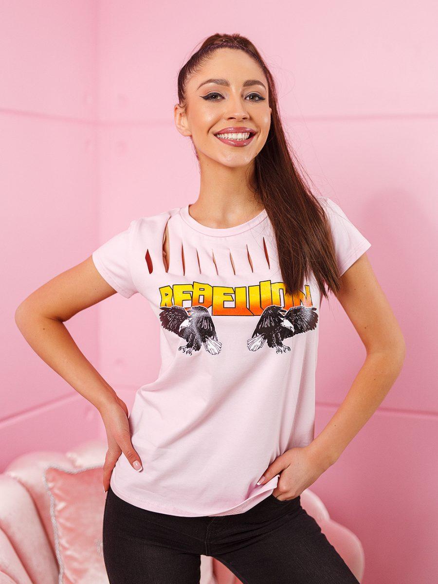 t shirt koszulka na krotki rekaw damska z rozcieciami na dekolcie rebelion jasny roz (1)